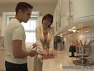 Lady Sonia gives young worker blowjob facial cumshot facial