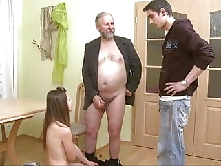 Old men Young Girl blowjob