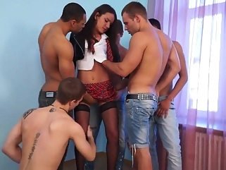group sex with a schoolgirl gangbang