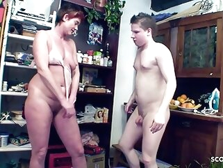 Young Guy Seduces Tasteless Grown-up Mom roughly get First Anal Mating blowjob