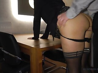 boss fucks secretary anally on chum around with annoy game table - business-bitch creampie
