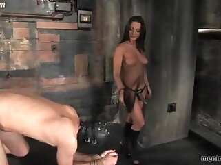 Mistress Sandra Romain does whatever she wants to gimp slave femdom