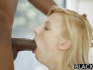 BLACKED Blonde Girlfriend Alexa Grace Cheats with BBC blowjob