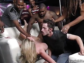 White wife fucked by blacks in club in front of husband interracial