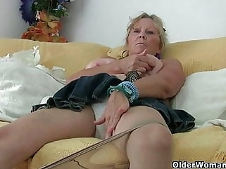 Grandma with big tits masturbates and gets finger fucked top rated
