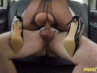 Fake Taxi Hot wife Tara Spades fucks in crotchless nylons blowjob