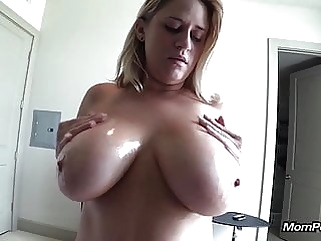 Huge natural tits MILF sucks me off POV tits