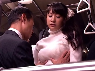 Japanese whore fucked and facialized in a bus public